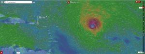 Hurricane Irma as shown on Windy.com Sunday Sept 3, 2017